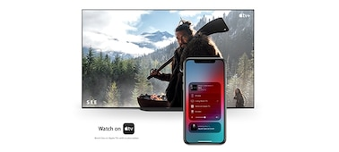 Apple AirPlay ile TV'ye bağlanan telefon