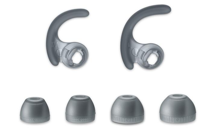 Farklı boylarda kemer destekleri ve uzun hibrit silikon kauçuk kulaklık başlıkları
