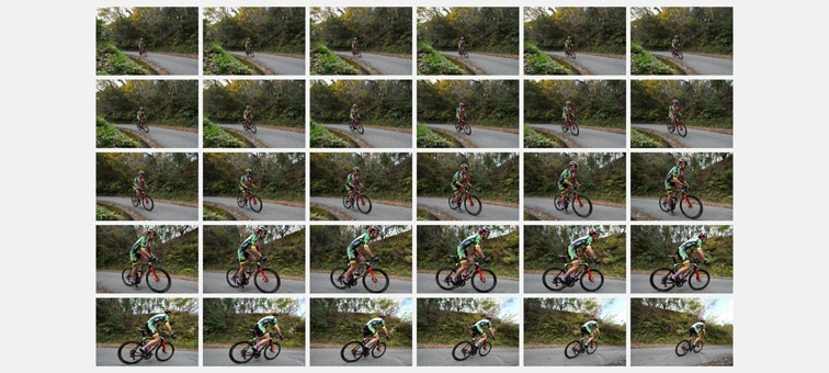 Bisiklet yarışçısının 30 kesintisiz çekim görüntüsü