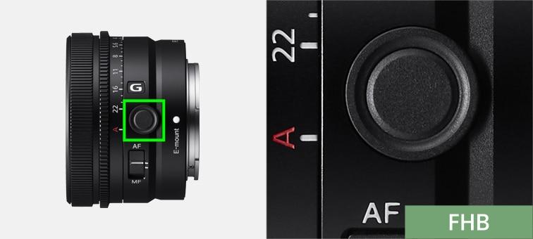Lensteki Netleme Tutma düğmesinin konumunu gösteren ürün görüntüsü